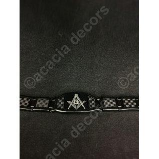 Bracelet en acier inoxydable Hommes - Noir avec équerre et compas
