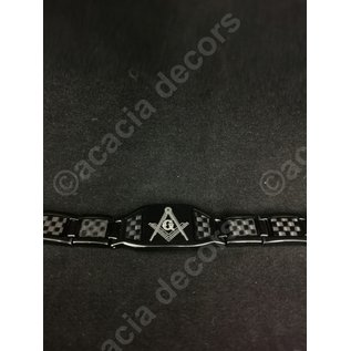 Bracelet Men in stainless steal - Black with square and compas