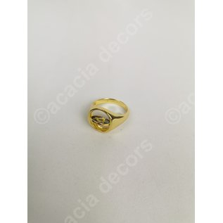 Ring plated gold double sided - Black