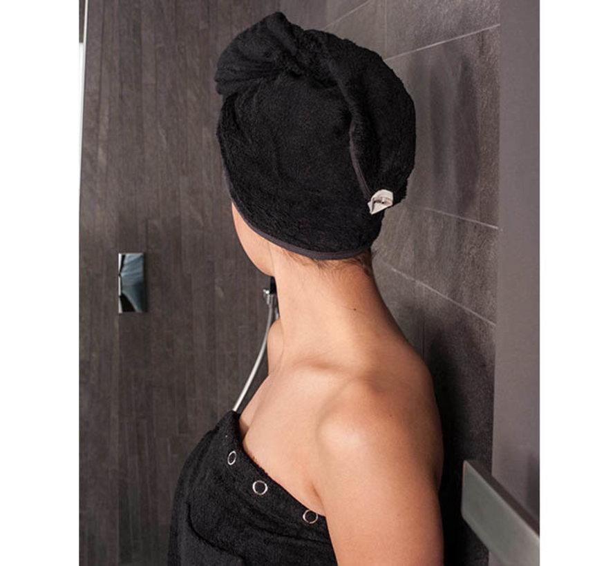 Hoofdhanddoek van bamboe zwart - Haarhanddoek