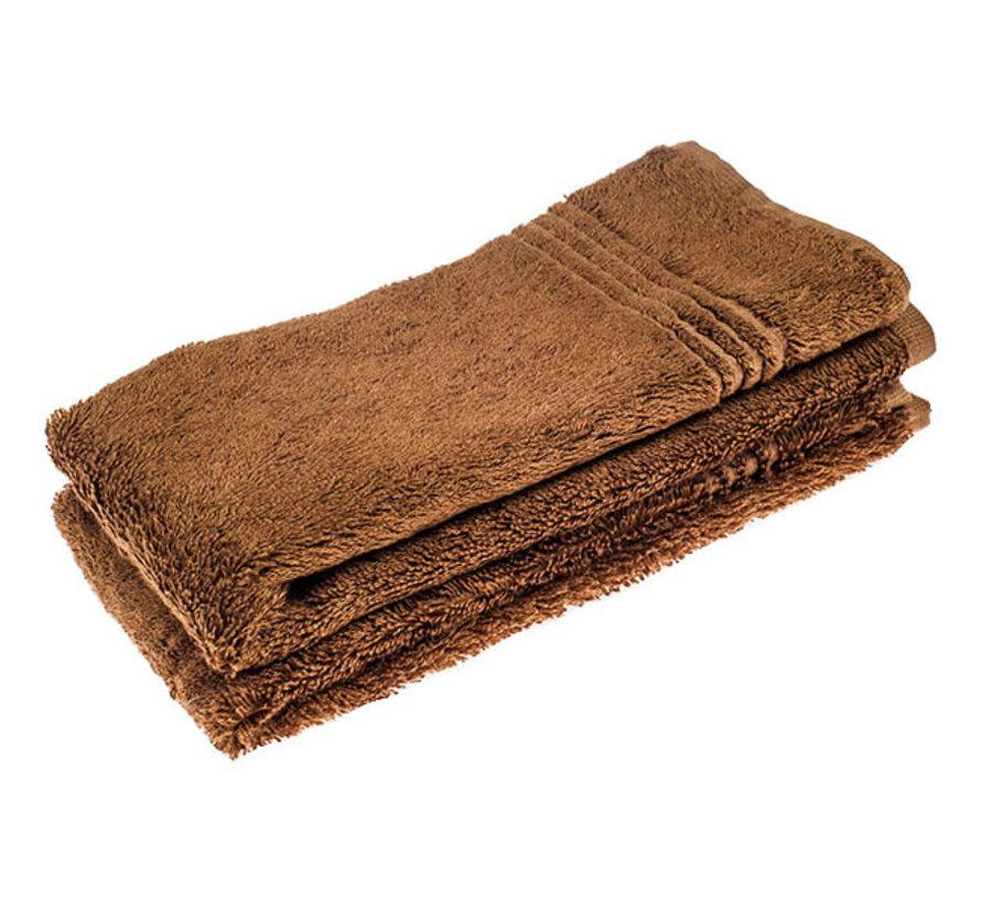 Handdoek set van 2 stuks  bruin 50 x 30 cm