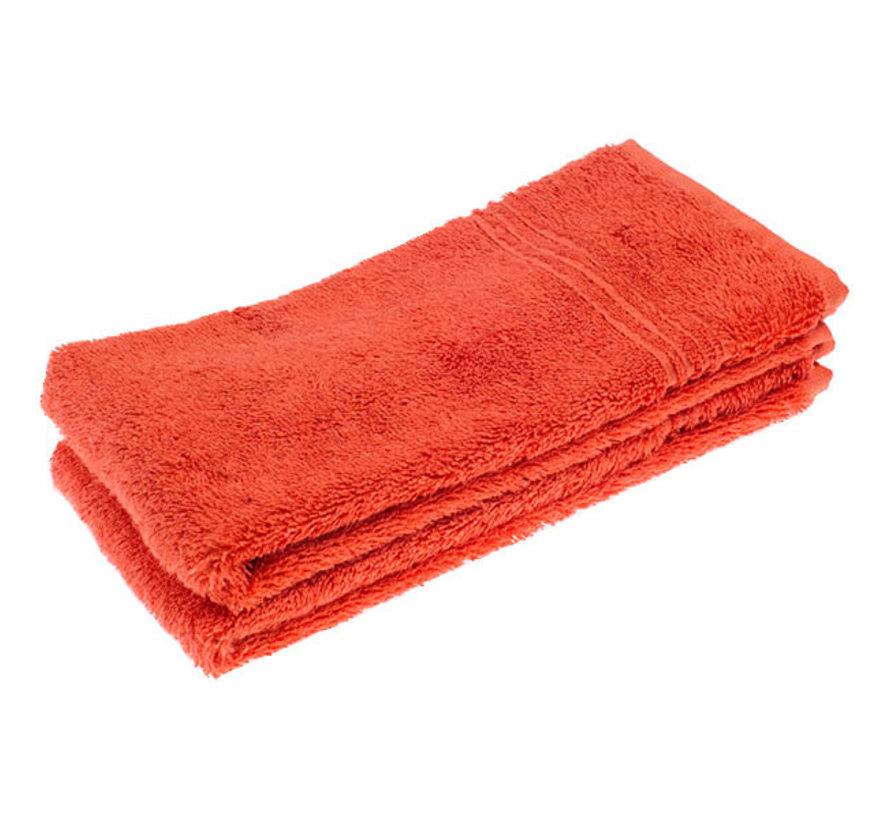 Handdoek set van 2 stuks rood 50 x 30 cm