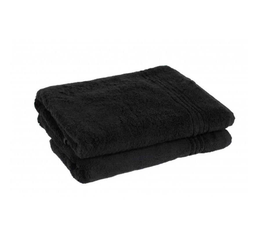 Handdoek set van 2 stuks  zwart 50 x 30 cm
