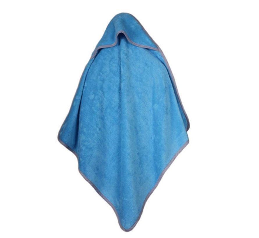 Baby handdoek blauw met capuchon 75x75cm