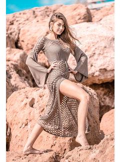Jurken Opengewerkte Maxi jurk fabulous - Beige