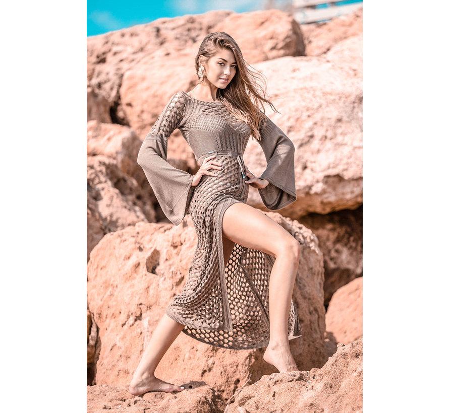 Opengewerkte Maxi jurk fabulous - Beige