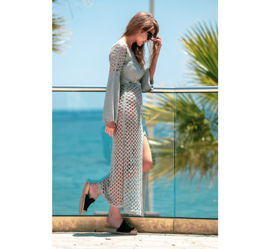 Opengewerkte Maxi jurk fabulous  grijs