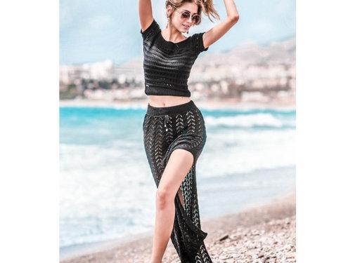 Jurken Set top en opengewerkte rok fabulous - Zwart