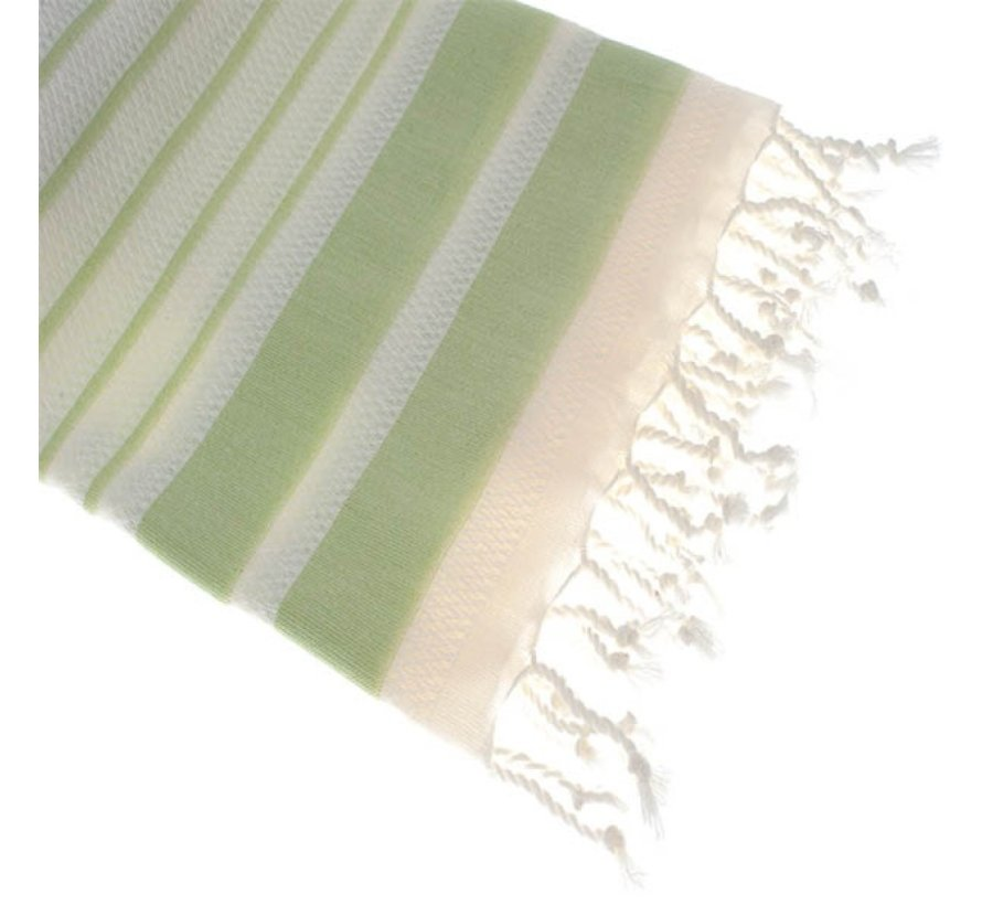 Bamboe hamamdoek - Aquastreeps groen - XXL 190x90cm