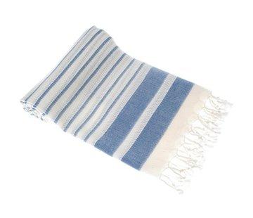 Hamamdoeken Bamboe hamamdoek - Aquastreeps indigo blauw - XXL 190x90cm