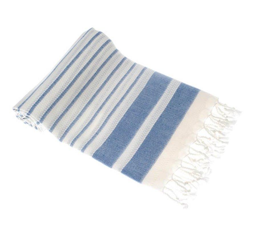 Bamboe hamamdoek - Aquastreeps indigo blauw - XXL 190x90cm