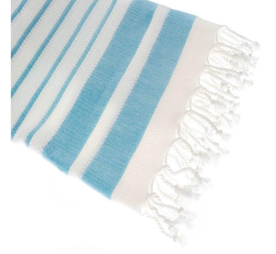 Bamboe hamamdoek - Aquastreeps licht blauw - XXL 190x90cm