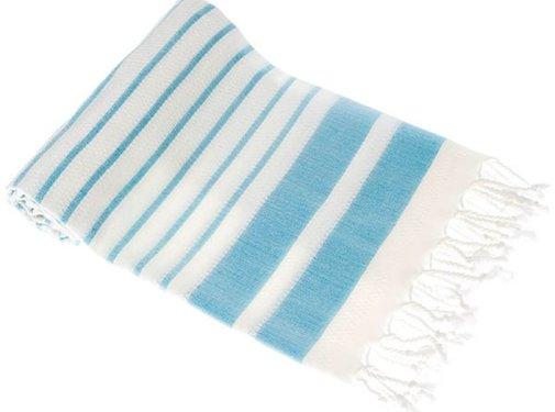 Hamamdoeken Bamboe hamamdoek - Aquastreeps licht blauw - XXL 190x90cm