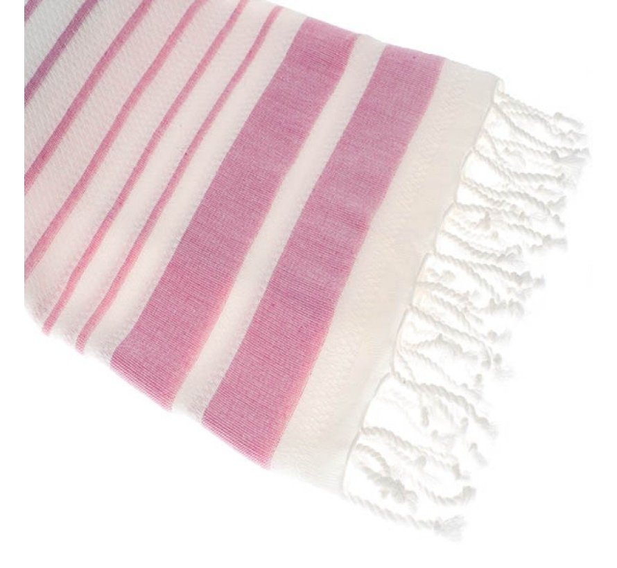 Bamboe hamamdoek - Aquastreeps roze - XXL 190x90cm