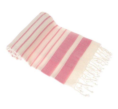 Hamamdoeken Bamboe hamamdoek - Aquastreeps roze - XXL 190x90cm
