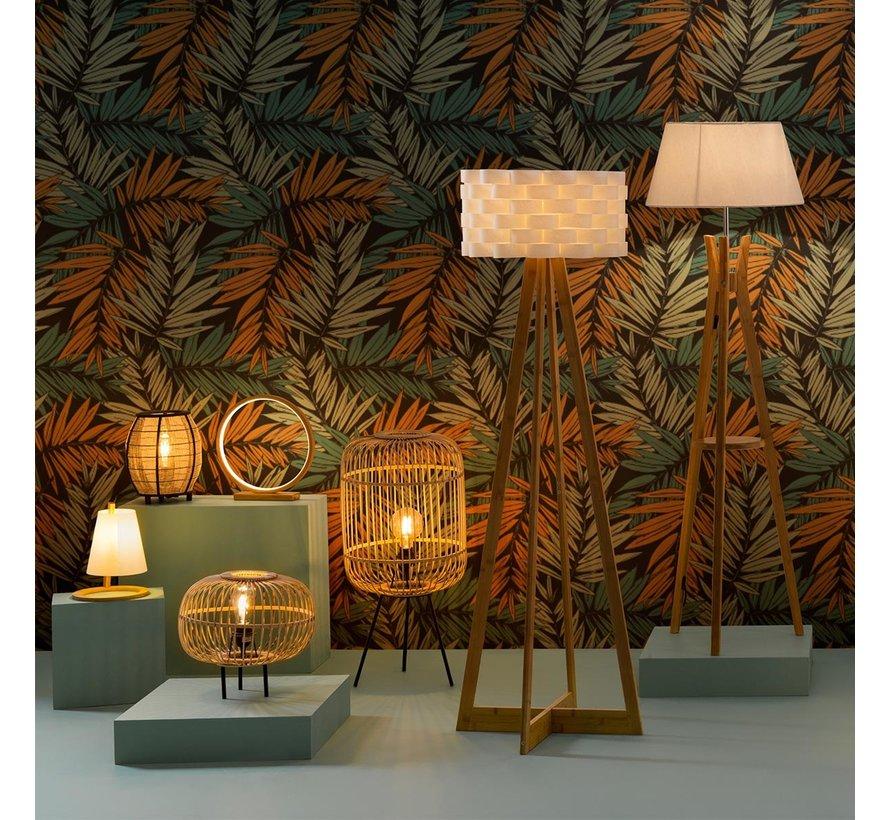 Atmosphera lamp, voet van bamboe, lampenkap wit,