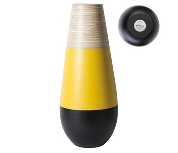 Vazen Decoratieve bamboe vaas  -  50 cm - Zwart met Geel