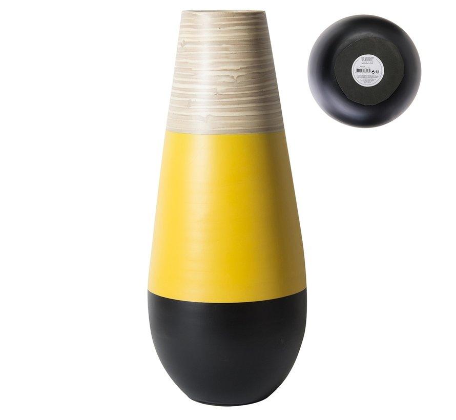 Decoratieve bamboe vaas  -  50 cm - Zwart met Geel