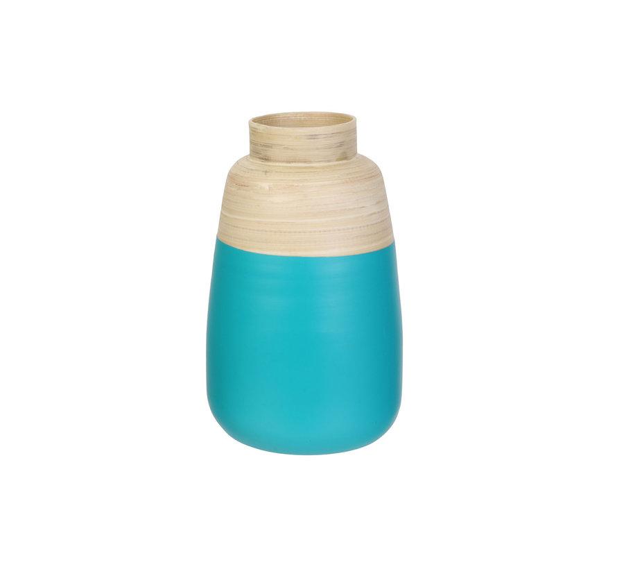 Decoratieve bamboe bloempot -  25 cm - Beige turquose