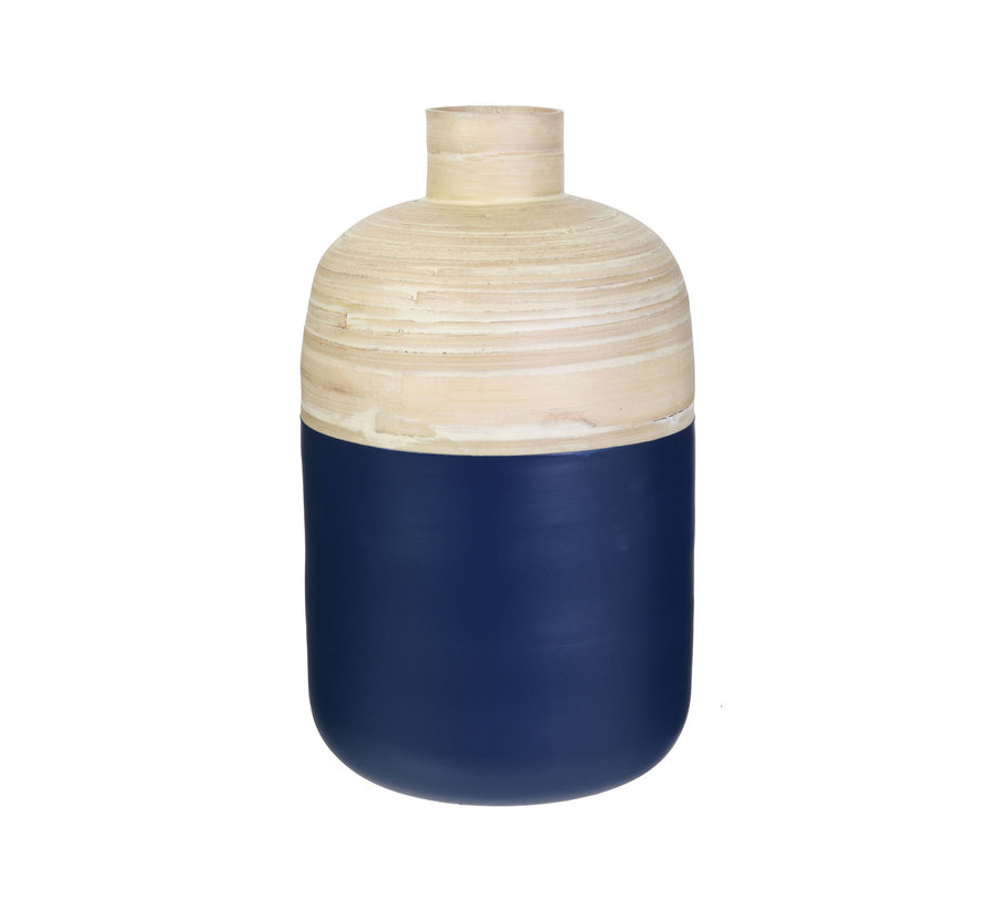 Decoratieve bamboe pot - 34 cm - Blauw