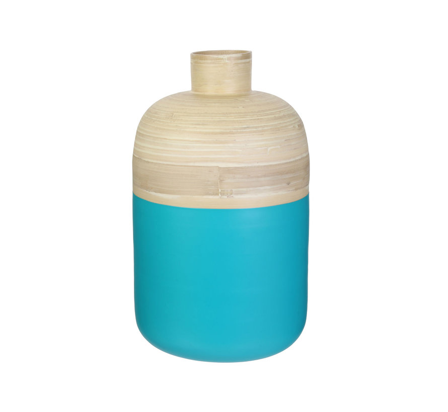 Decoratieve bamboe pot - 34 cm - Beige turquose