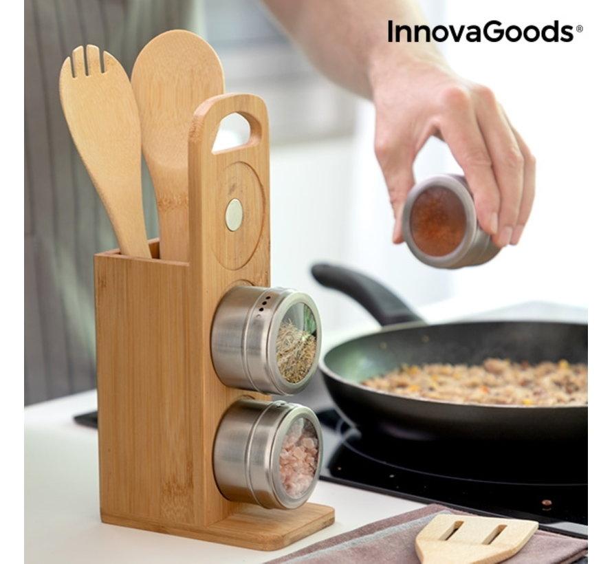 Magnetisch kruidenrek met bamboe keukengerei - 7 delig