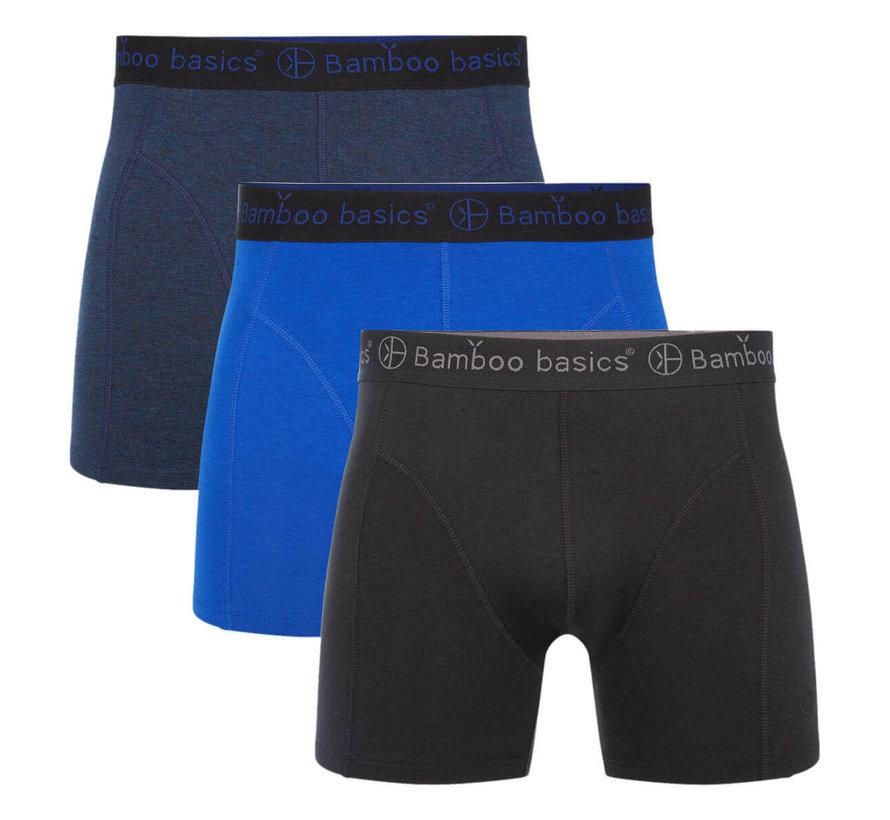 Bamboo Basics Boxershorts Rico – Donker blauw, Blauw & Zwart  (3-pack)