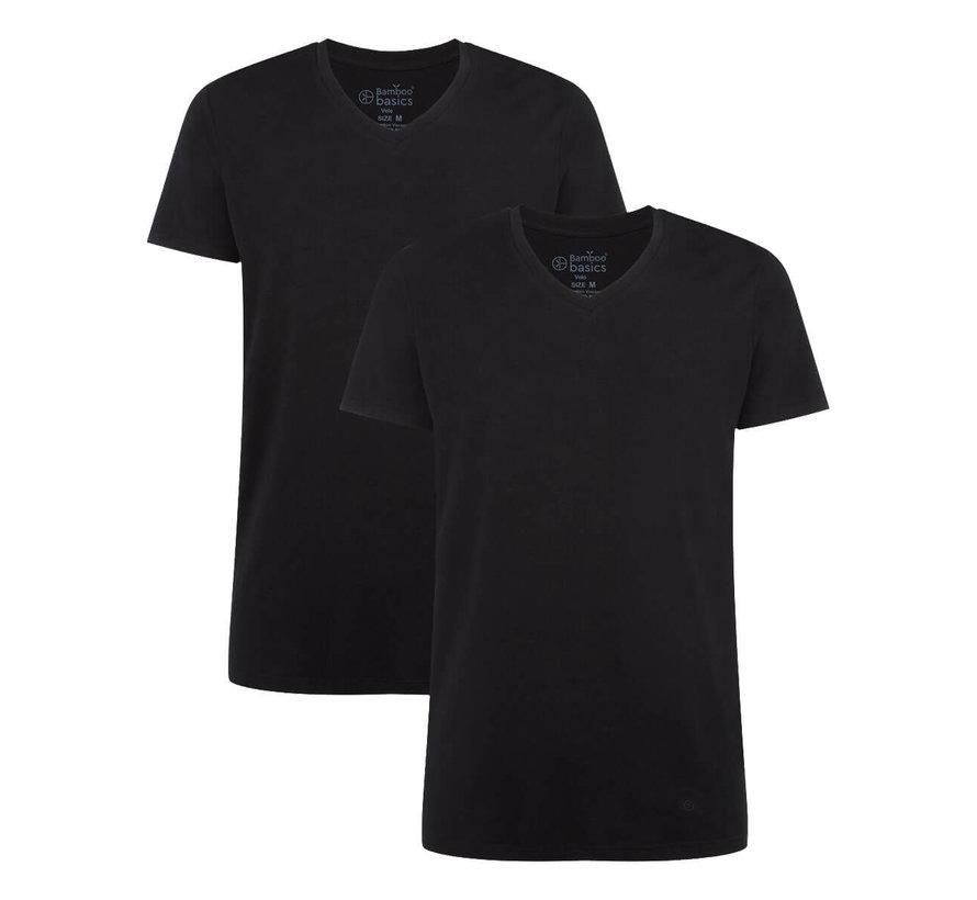 Bamboo Basics T-shirts Velo V- hals – Zwart - (2-pack)