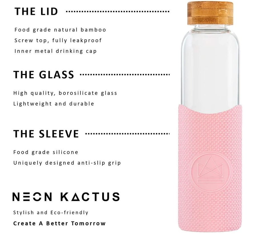 Neon Kactus Glass Waterfles - Pink Flamingo 550ml
