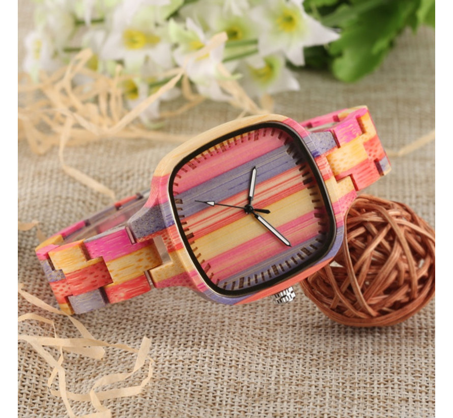 Bamboe Horloge Quartz - Dames - Kleurrijke Strepen