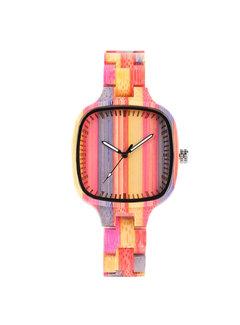 Dames horloges Bamboe Horloge Quartz - Dames - Kleurrijke Strepen