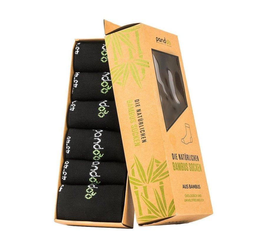Bamboe Sport Sokken - Zwart- 6-Pack - Unisex