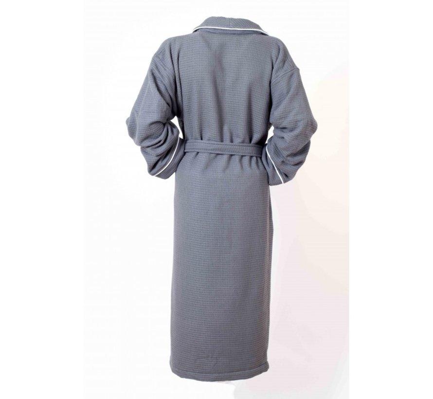 Bamboe -Wafel badjas met badstof van binnen, Antraciet