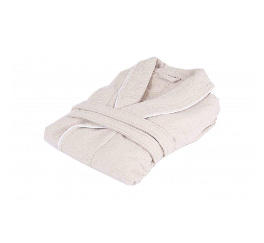 Bamboe -Wafel badjas  -  Beige