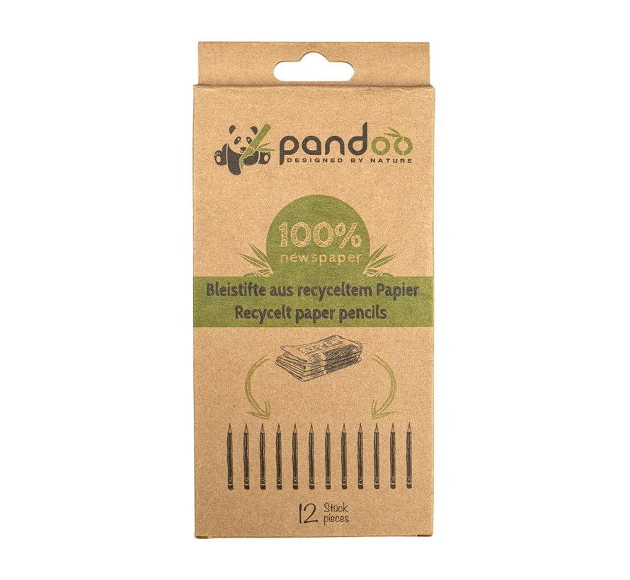 Pandoo potloden van gerecycled papier - 12 stuks