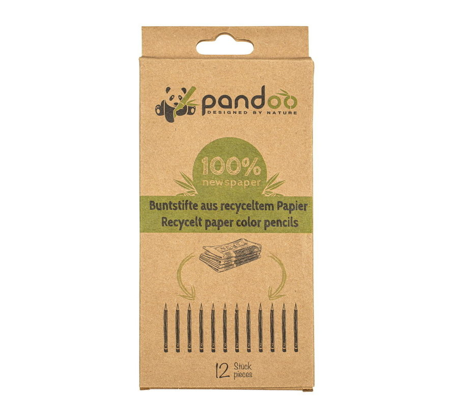 Pandoo kleurpotloden van gerecycled papier - 12 stuks