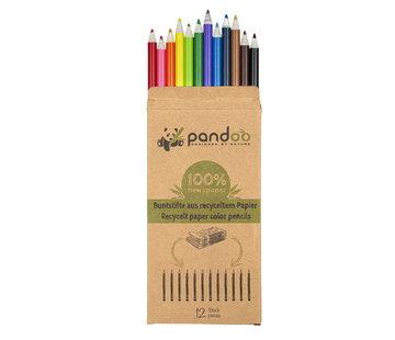 Potloden Pandoo kleurpotloden van gerecycled papier - 12 stuks