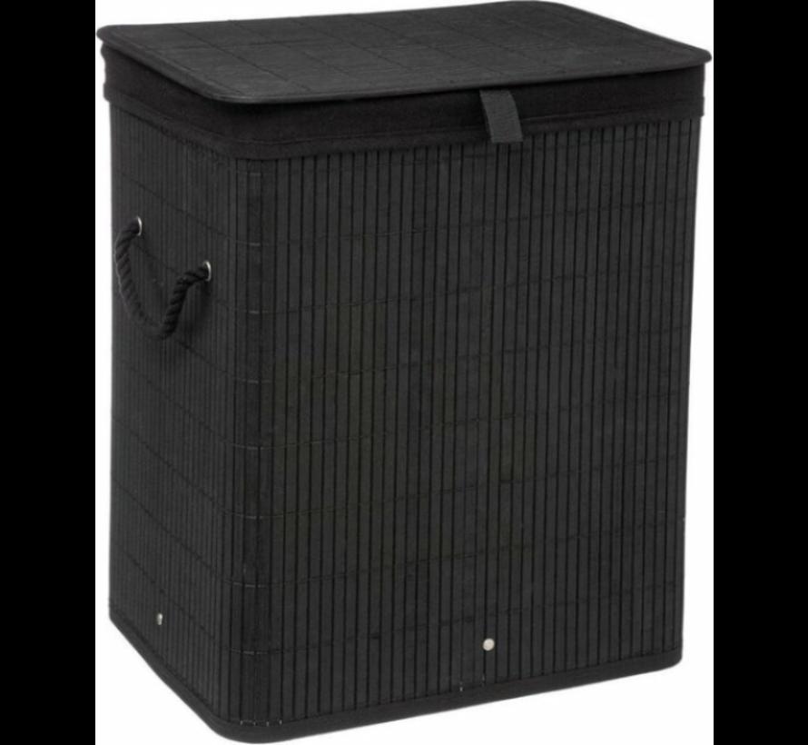 Zwarte bamboe wasmand -  40 x 30 x 50 cm  - 60 liter