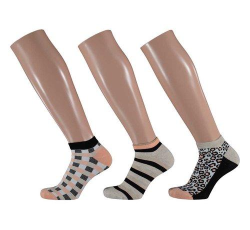 Sokken Apollo - Bamboe Dames Sneakersokken Naadloos - 3 Pack -  Multi Print