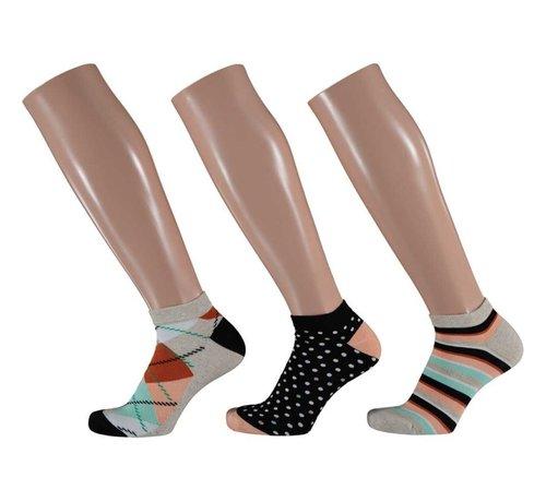 Sokken Apollo - Dames Sneakersokken - 3 Pack -  Multi Square