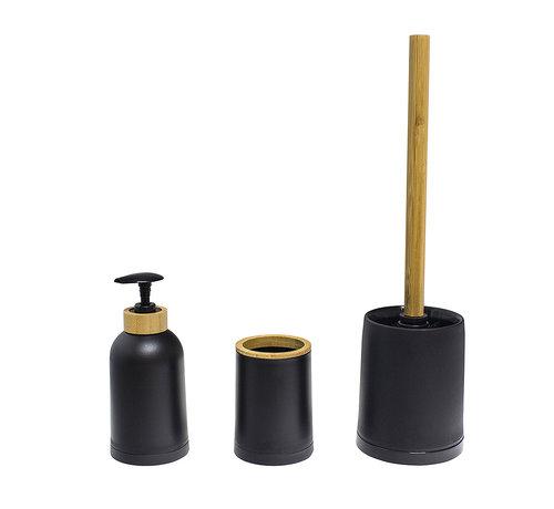Toiletaccessoires Balvi Zen Bamboe Badkamer Set – Zwart - Naturel 3 delig