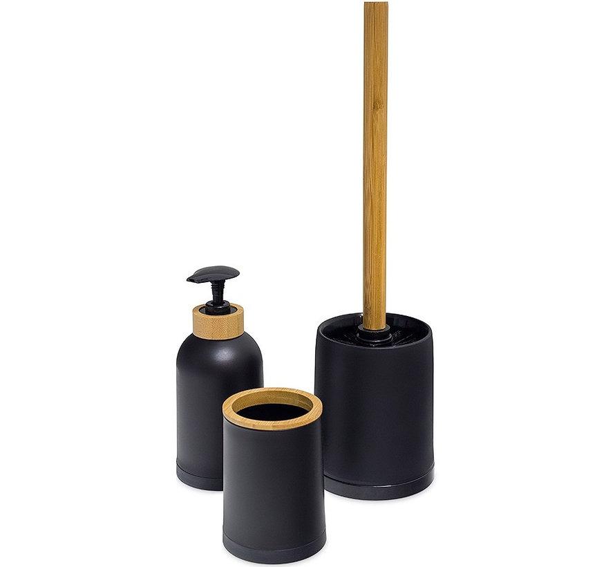 Balvi Zen Bamboe Badkamer Set – Zwart - Naturel 3 delig