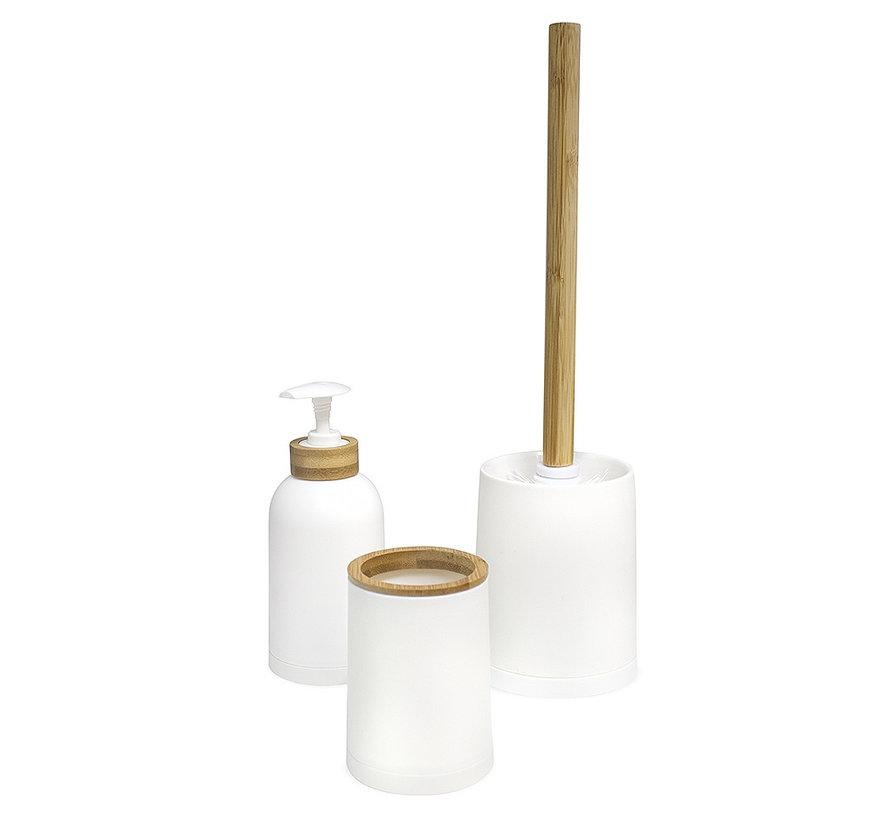 Balvi Zen Bamboe Badkamer Set – Wit - Naturel 3 delig