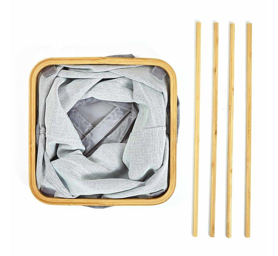 Vierkante wasmand met ring van bamboe - opvouwbaar