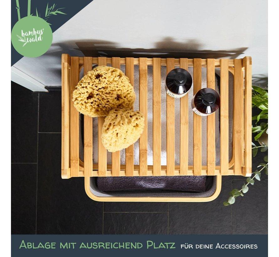 duurzame wasmand met 3 uittrekbare bamboecompartimenten