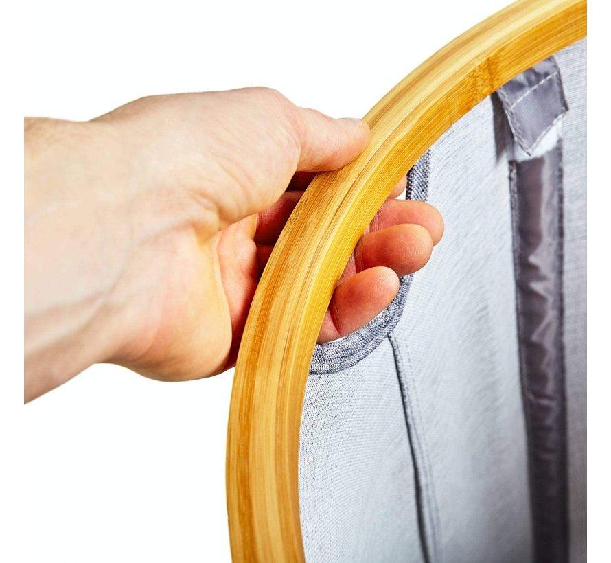 Ronde wasmand met ring van bamboe - opvouwbaar