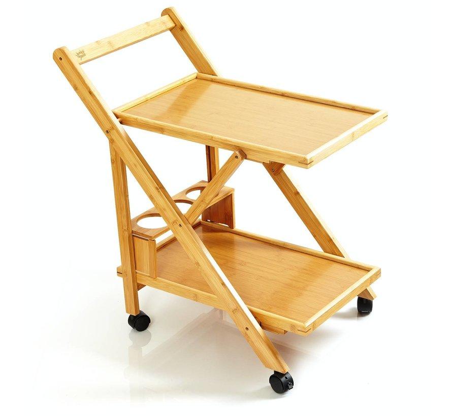 Elegante bamboe servieswagen op wielen - 70x40,5x65cm