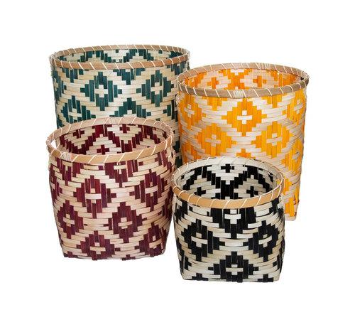 Atmosphera Interieurdesigner bamboe manden  - set van 4 stuks