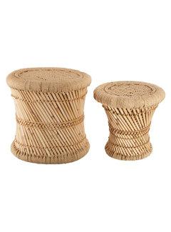 Bijzettafels Bijzettafels van Bamboe & hennep -  Ibiza Boho stijl - Naturel