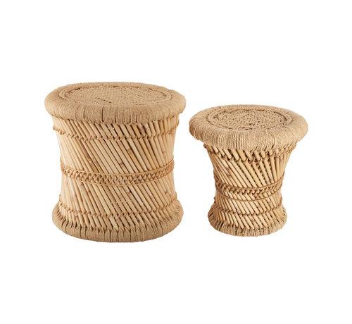 Bijzettafels Krukjes van Bamboe & hennep -  Ibiza Boho stijl - Naturel